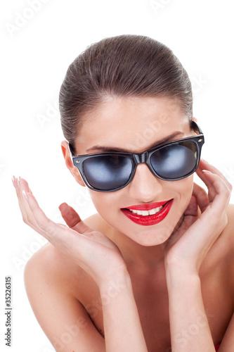 seductive woman in sunglasses