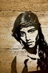 graffiti woman on wood wall