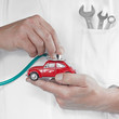 To check a car very closely with stethoscope