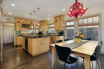 Kitchen with colored tiled backsplash