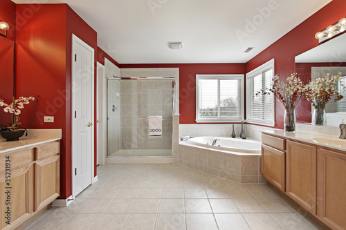 Master bath with red walls