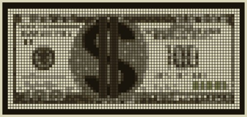 Illustration of an unreal currency with a dollar sign