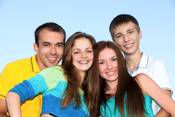 Portrait of  happy young teenagers