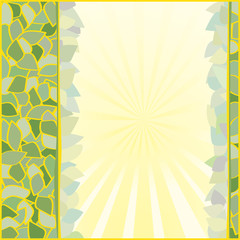 Background of leaves with a yellow stroke, a place for writing