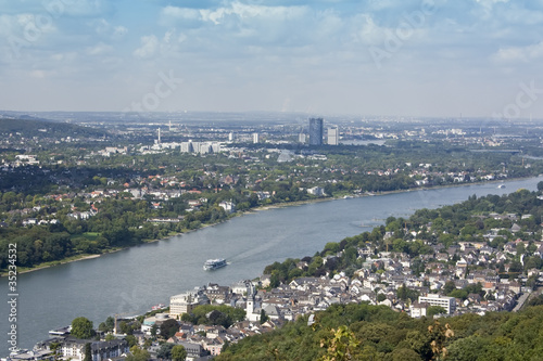 View to The River Rhine, Koenigswinter, Bad Godesberg and Bonn