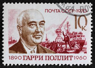 Postal stamp. Garri Pollit, 1970