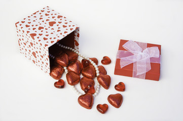 Heart Gift Box Spilling Chocolates and Pearls