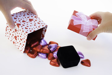 Heart Gift Box Spilling Chocolates and a jewelry box