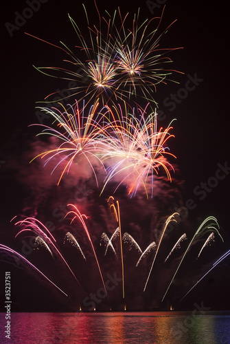 Firework - fountain with several multicolored flares