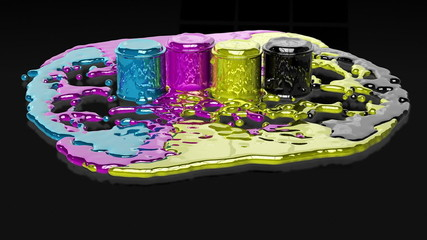 Paint CMYK splashing on reflective floor, Alpha