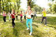 group of people having training , outdoor