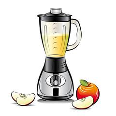 Kitchen blender with Apple juice. Vector illustration
