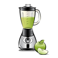Kitchen blender with Apple juice. Vector illustration