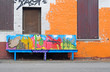 Colourfull graffiti bench and house, Antwerp
