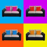 Multicolored home sofa composition - 35243575