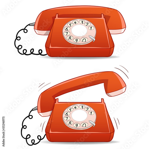 Calm and ringing old-fashioned cartoon phone