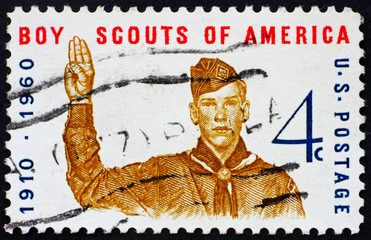 Postage stamp USA 1960 Boy scout giving scout sign