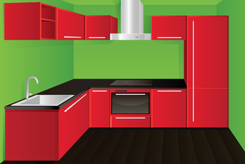 Original modern red kitchen design