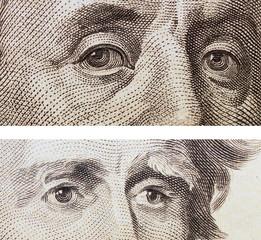 dollar bill,  eye Jackson and Franklin background, textures