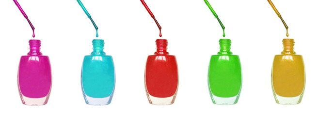 Colorful  nail polishes - make up concept