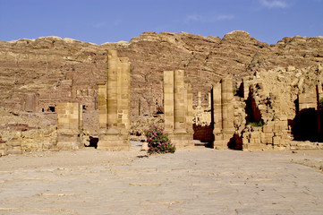 Colonnaded street in ancient city of Petra.