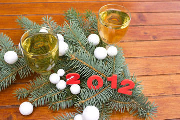 Happy New Year 2012 with champagne - wine