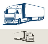 Truck with semitrailer. Vector illustration