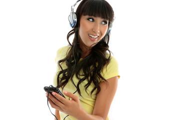 Female leisure enjoying music