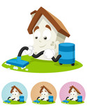 House Cartoon Mascot - cleaning the house