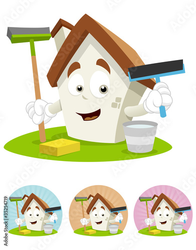 House Cartoon Mascot - holding cleaning tools