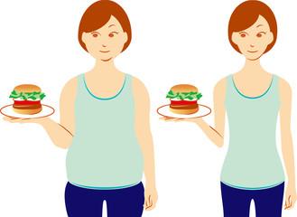 ダイエット ハンバーガーを持つ女性
