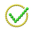 Green check mark in circle made of spheres 3d