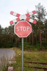 """Znak """"Stop"""",przejazd kolejowy"""