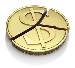 Chart pie made with a dollar gold coin, isolated on white