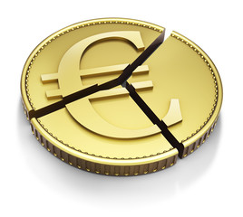 Chart pie made with a Euro gold coin, isolated on white