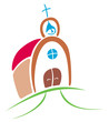 Colorful symbol of church on simple illustration