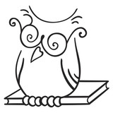 Fototapety Illustration of Owl seating on the book