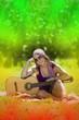 Постер, плакат: junge Frau auf Feld mit Gitarre bei Reggae Festival