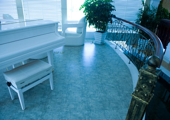 home interior room with piano