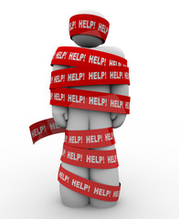 Help Person Wrapped in Red Tape Needs Rescue