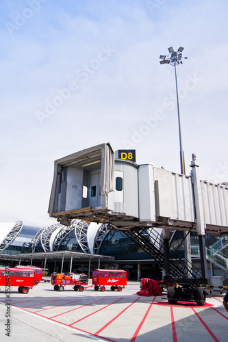 Aerobridge with blue sky at Suvarnabhumi airport,thailand