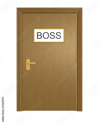 Door to boss office. Isolated on the white background