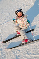 Skiing - portrait of little skier