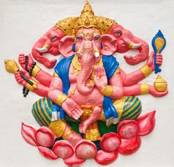 Indian or Hindu ganesha God Named Trimukha Ganapati at temple in