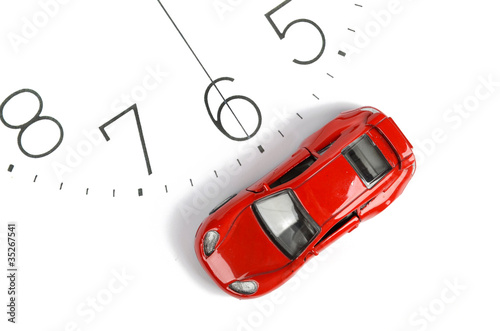 Toy car and clock face