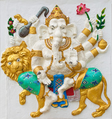 Indian or Hindu ganesha God Named Singha Ganapati at temple in t