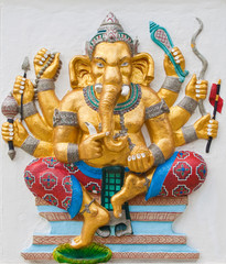 Indian or Hindu ganesha God Named Duraga Ganapati at temple in t