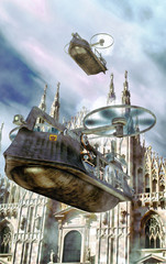 steampunk flying boat ship