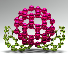 3D rendered rose and green molecular structures