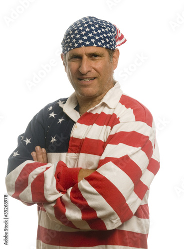 patriotic American man wearing flag shirt